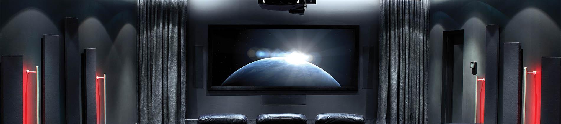 Custom Home, Black, Dark, Projector, Theatre, Screen