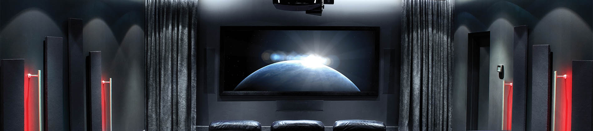 Custom Home, Black, Dark, Projector, Theatre, Screen