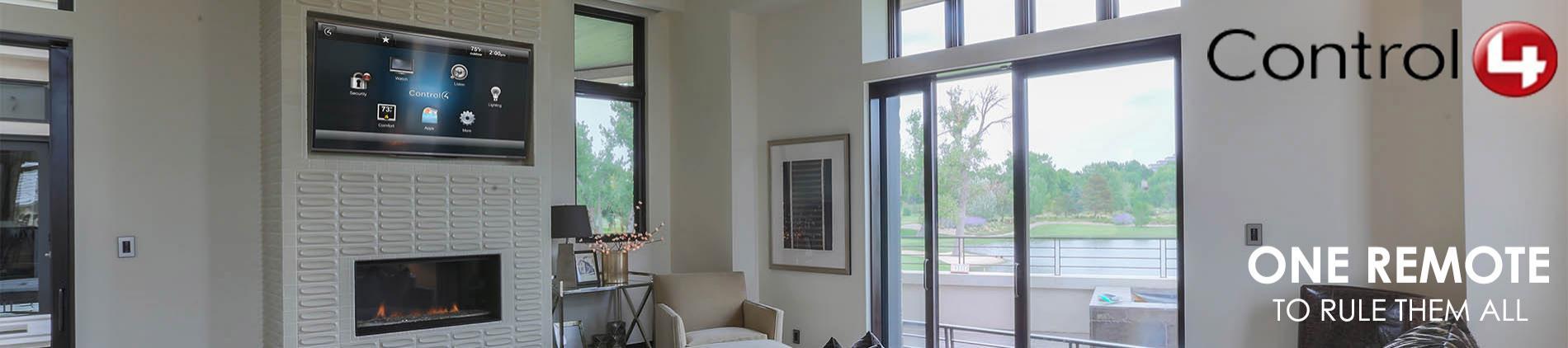 Control4, Living, Room, White, TV, Fireplace, Glass, door,