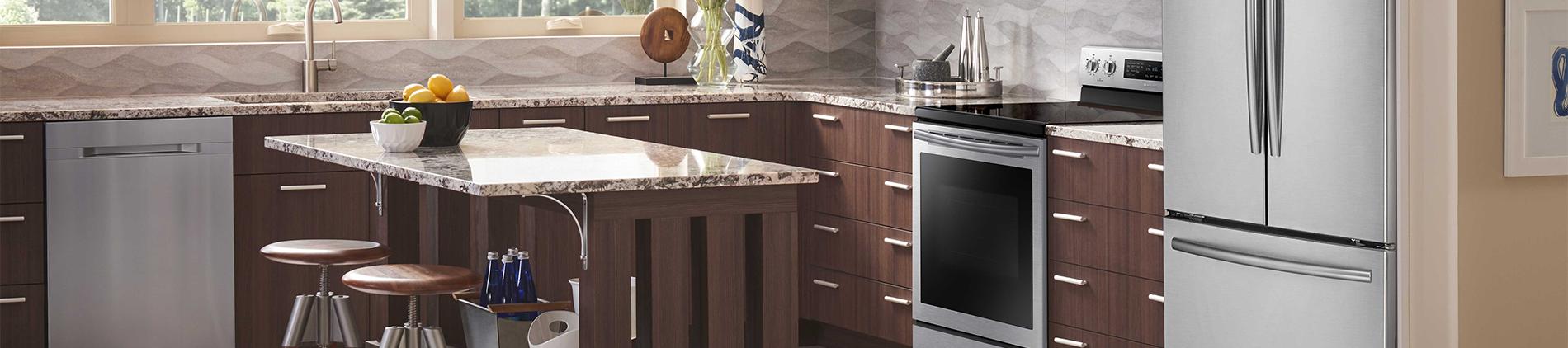 Samsung, Kitchen, Dishwasher, Stove, Fridge, Stool