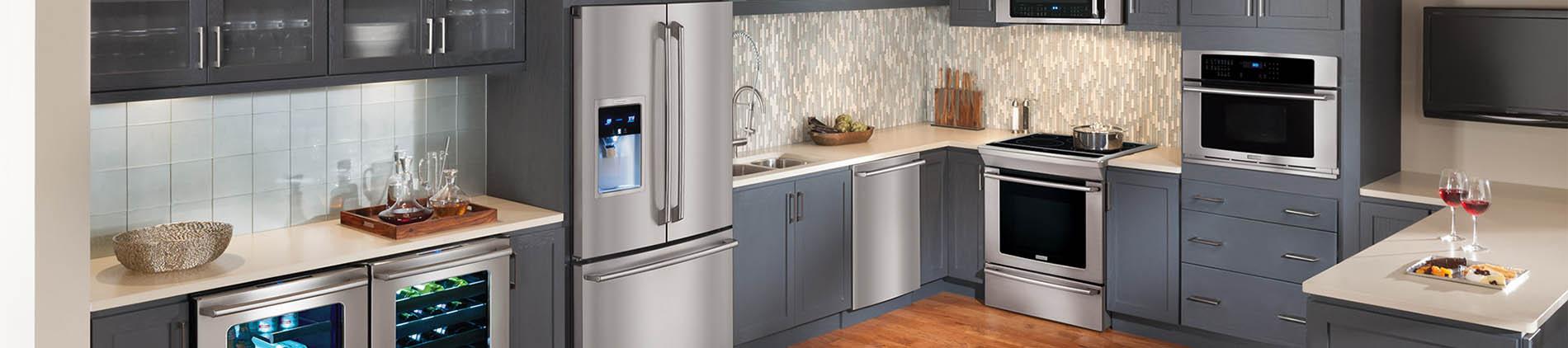 Stainless, Kitchen, Frigidaire, Wall Oven, Range, Dishwasher, wine cooler, Fridge
