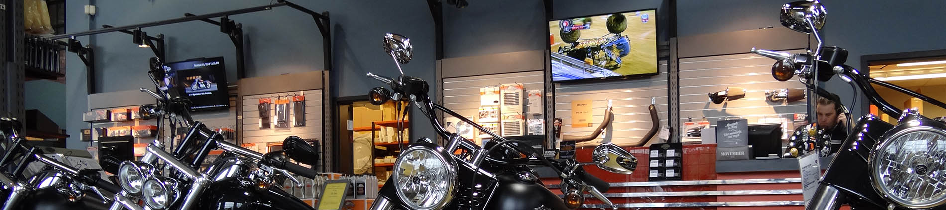 Commercial, Harley, Davidson, Display, restaurant audio video