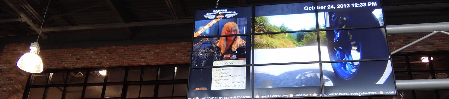 Commercial, 9UP, Display, Harley, Davidson,video walls, resturants,bars