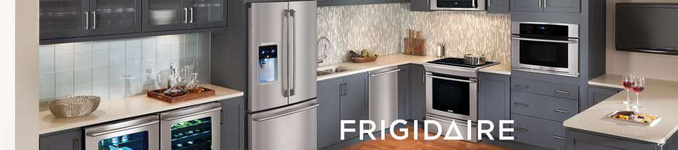 Stainless, Kitchen, Frigidaire, Wall Oven, Range, Dishwasher, wine cooler, Fridge
