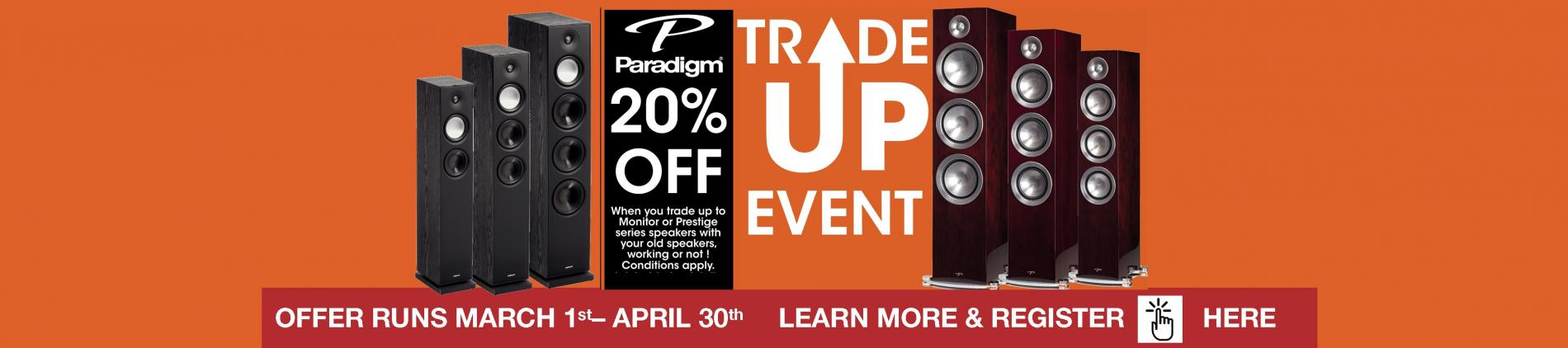 Paradigm speakers, Paradigm Victoria BC, Stereos Victoria, BC, Prestige speakers, Paradigm Monitor Series speakers, Trade-in, Trade up, tower speakers, subwoofers,