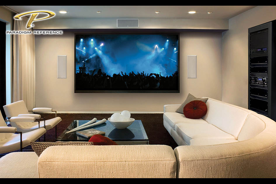 custom home, in-wall speakers, paradigm, reference, home theatre