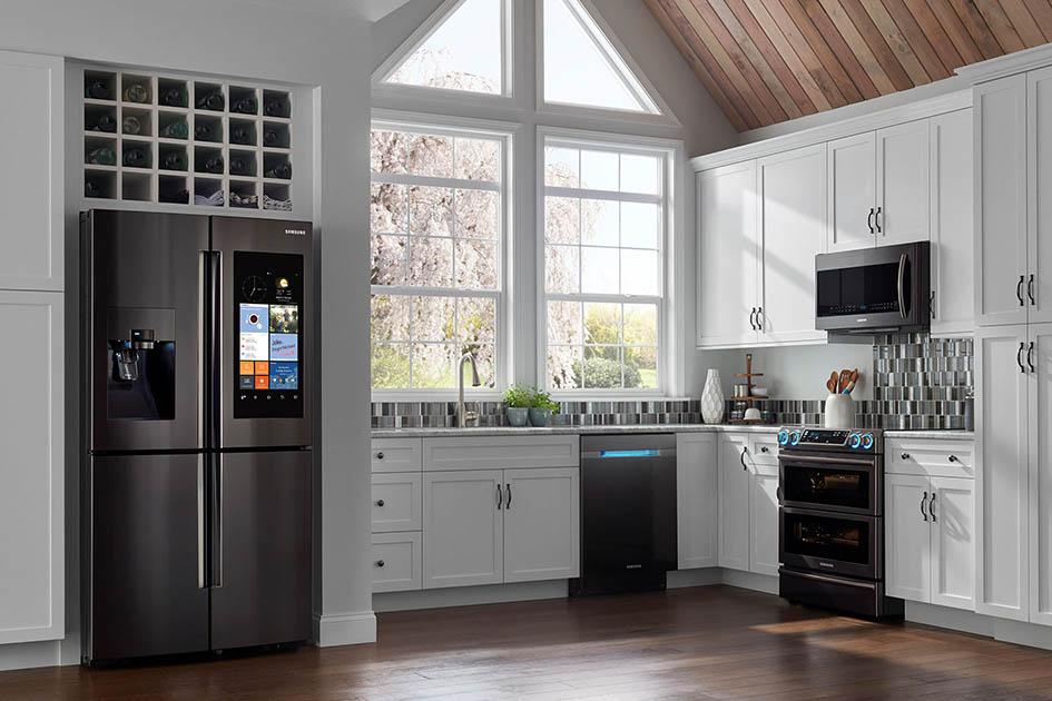 Samsung, stainless steel, kitchen, fridge, range, dishwasher, microwave