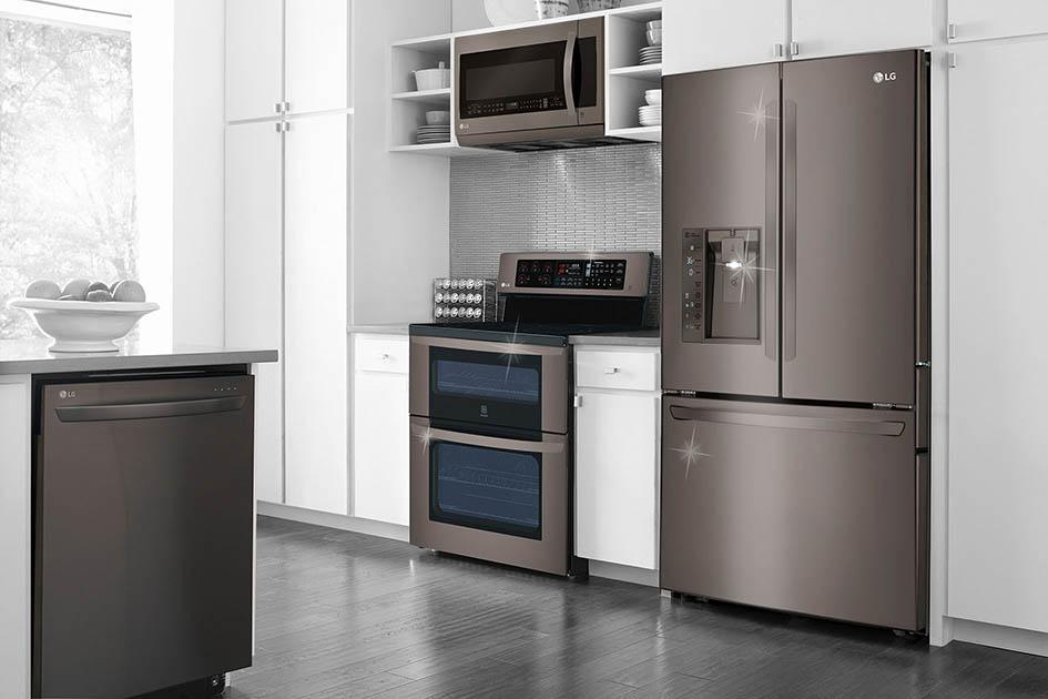 LG, champagne, kitchen, dishwasher, range, microwave