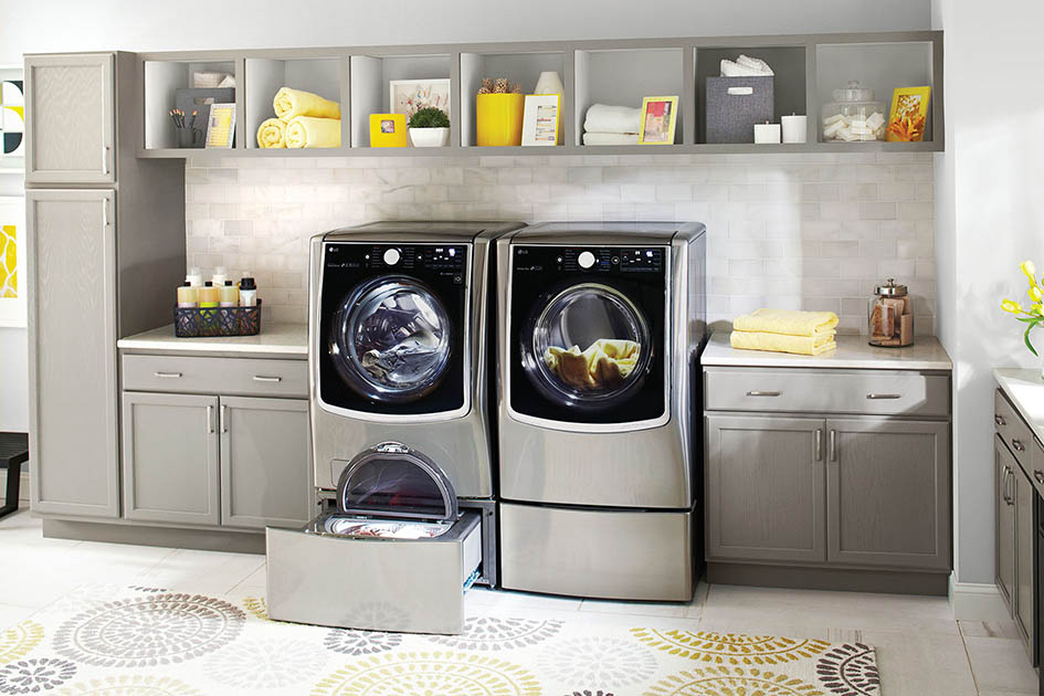 LG, washer, dryer, laundry room
