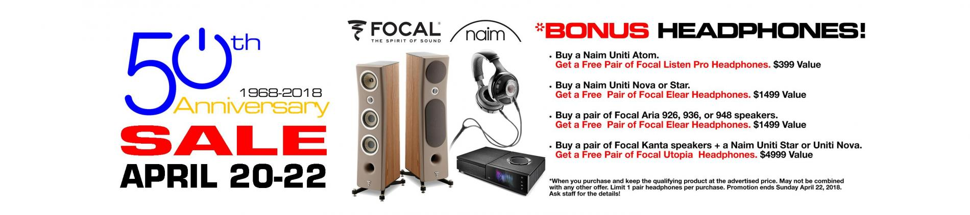 Atlas Audio Video Unlimited 50th Anniversary Bonus Focal Headphones with select Naim Uniti and Focal Aria purchase