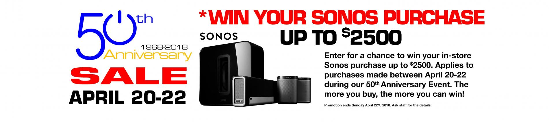 April 20-22 2018 Only. Enter for a Chance to Win your Sonos Purchase up to $2500.